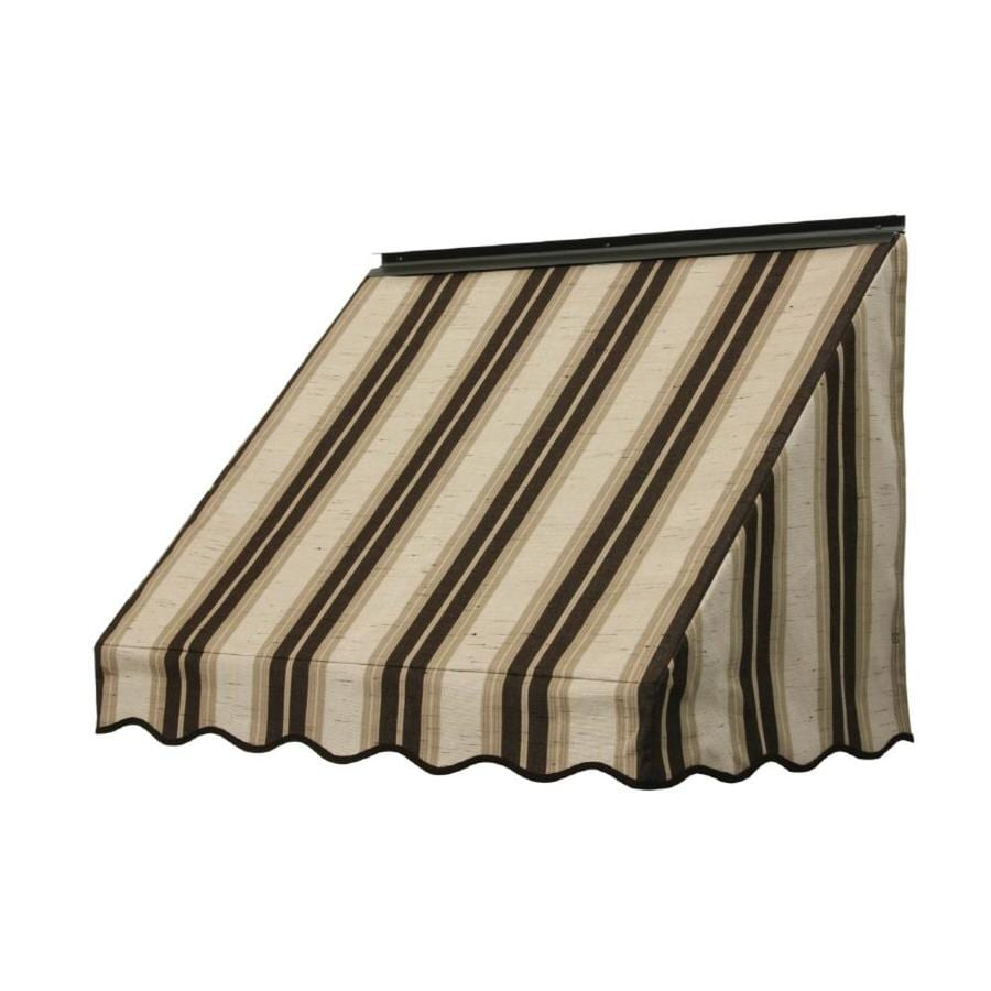 NuImage Awnings 42-in Wide x 18-in Projection Chocolate Chip Fancy Stripe Slope Window Awning