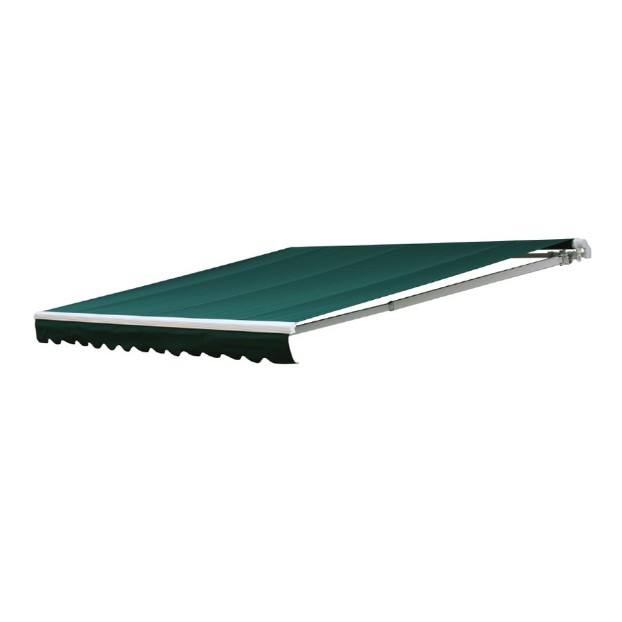 NuImage Awnings 192-in Wide x 120-in Projection Hunter Green (4637) Solid Slope Patio Retractable Remote Control Awning