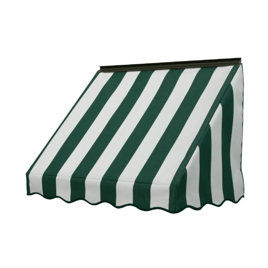 NuImage Awnings 42-in Wide x 18-in Projection Forest Green/Natural 6-Bar Stripe Slope Window Awning