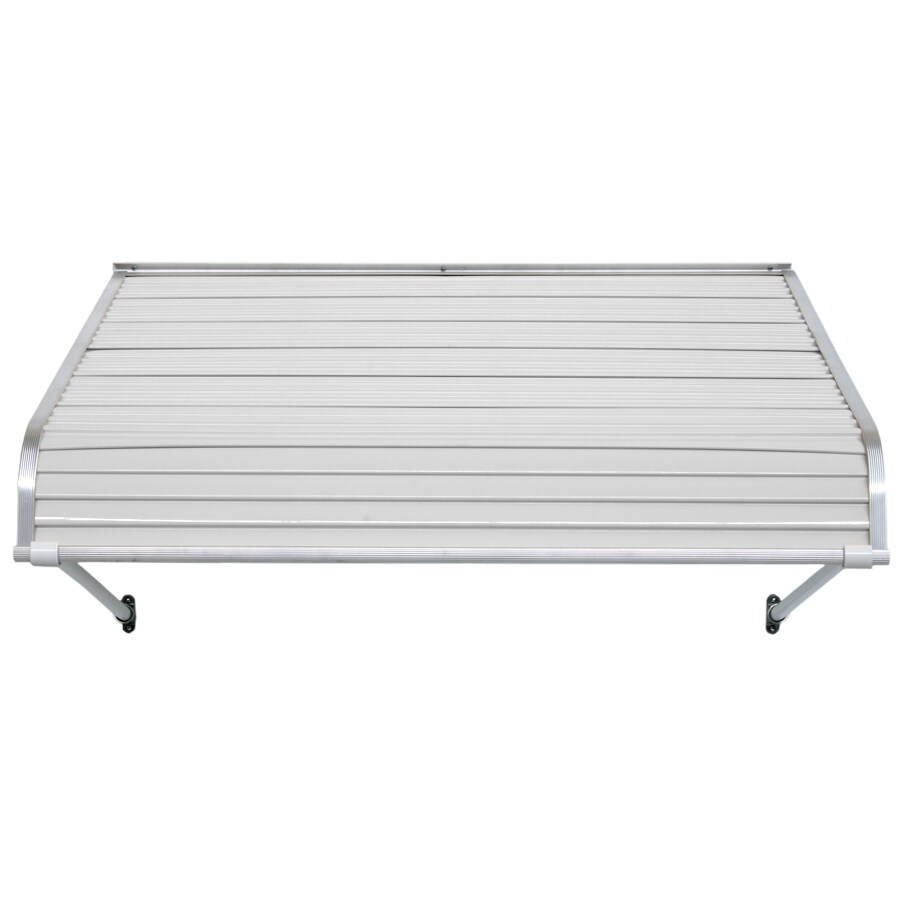 NuImage Awnings 60-in Wide x 54-in Projection White Open Slope Door Awning