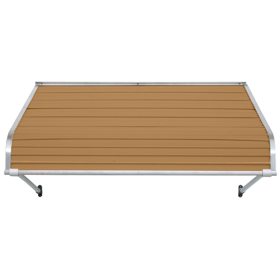 NuImage Awnings 48-in Wide x 24-in Projection Mocha Tan Open Slope Door Awning