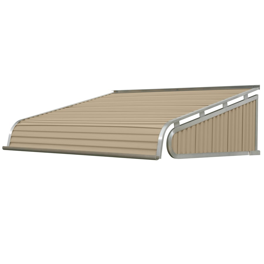 NuImage Awnings 96-in Wide x 30-in Projection Sandalwood Solid Slope Door Awning