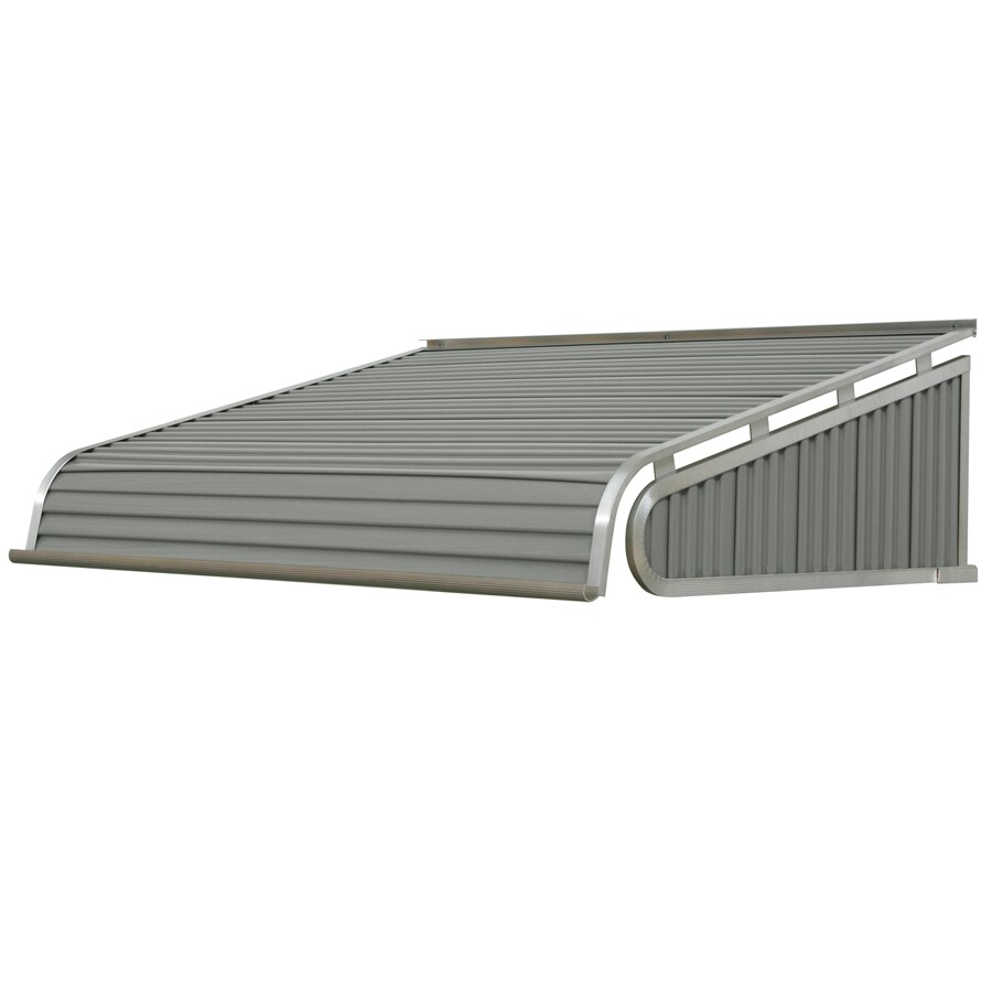 NuImage Awnings 96-in Wide x 42-in Projection Graystone Solid Slope Door Awning