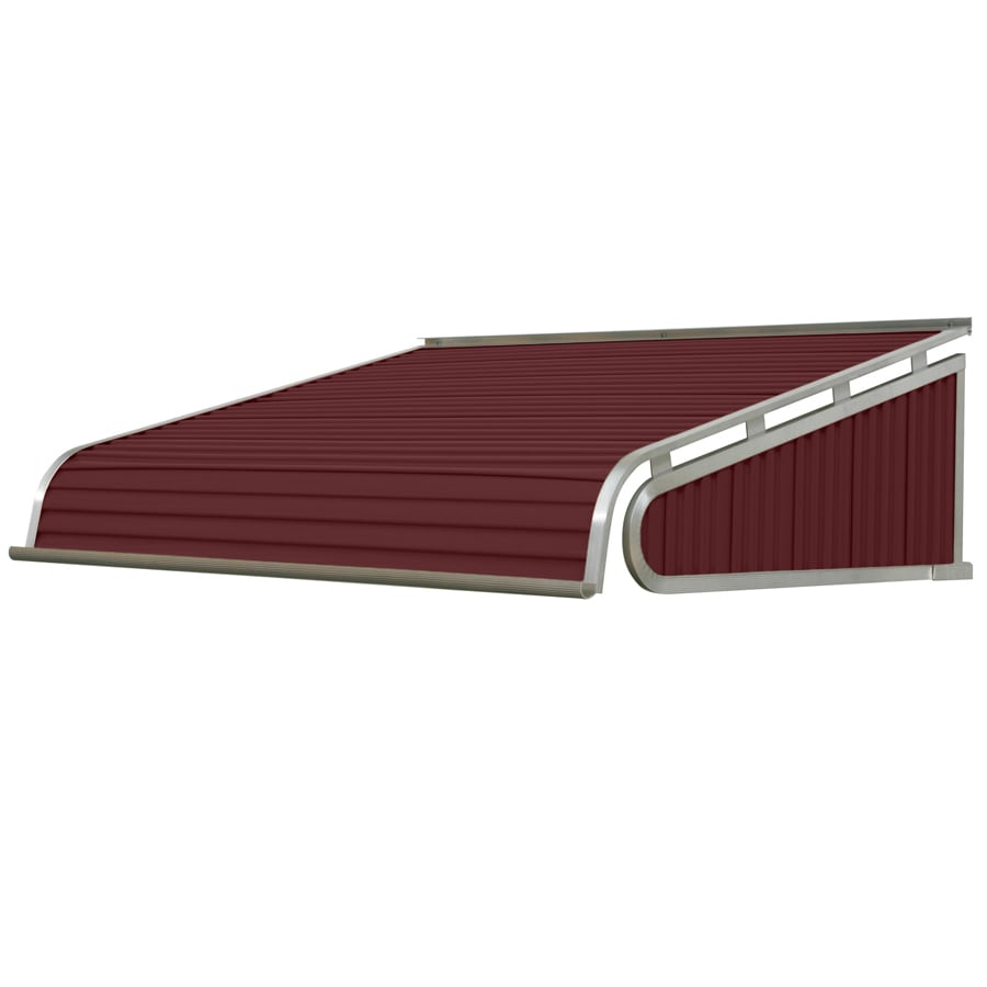NuImage Awnings 84-in Wide x 60-in Projection Burgundy Solid Slope Door Awning