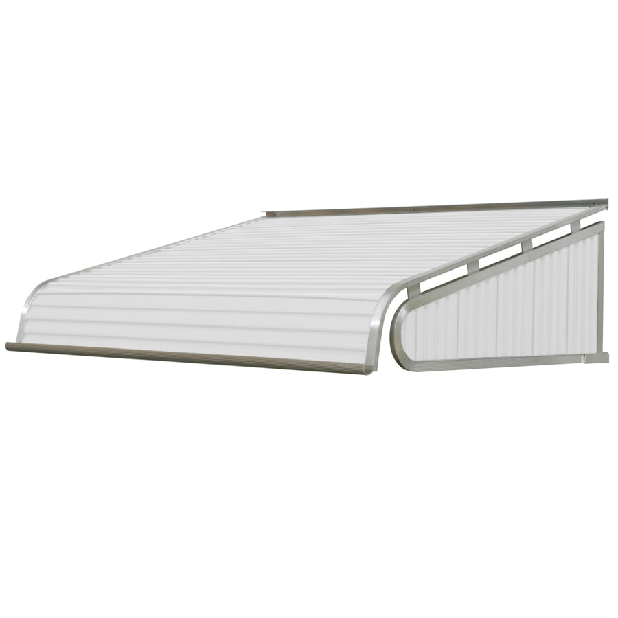 NuImage Awnings 96-in Wide x 60-in Projection White Solid Slope Door Awning