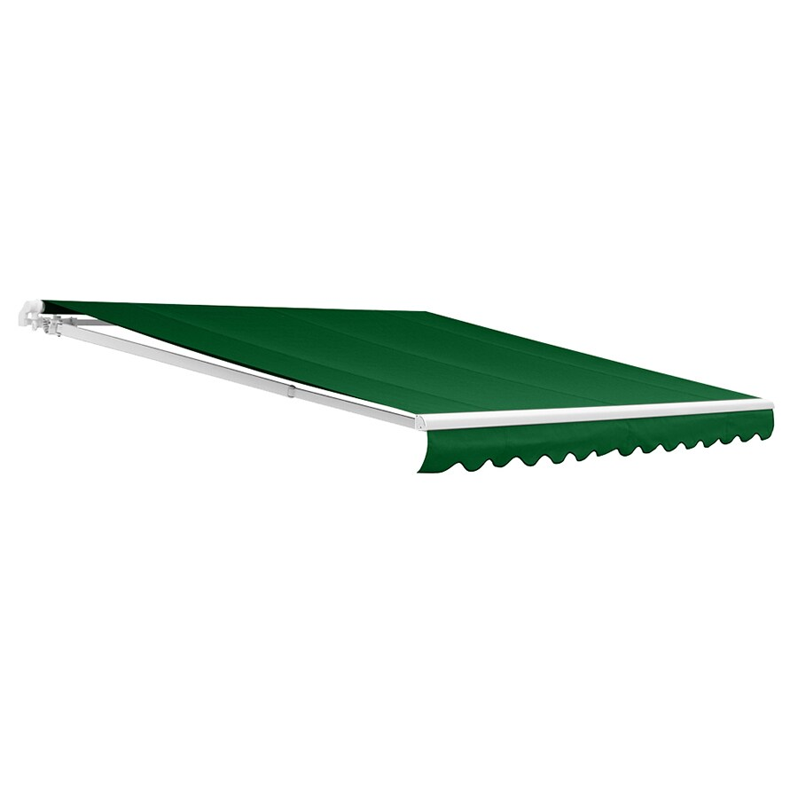 NuImage Awnings 144-in Wide x 96-in Projection Green Solid Open Slope Patio Retractable Motorized Awning