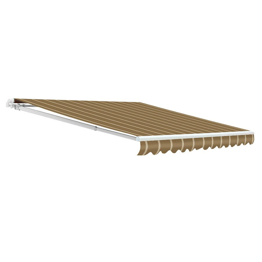 NuImage Awnings 144-in Wide x 120-in Projection Latte Striped Open Slope Patio Retractable Manual Awning