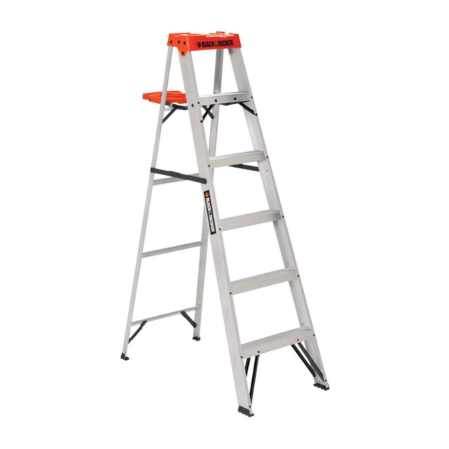 BLACK & DECKER 6-ft Aluminum 250-lb Type I Step Ladder