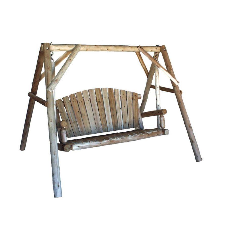 Lakeland Mills 3-Seat Wood Rustic Yard Swing