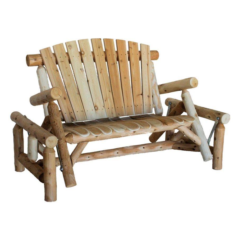 Lakeland Mills 3-Seat Wood Rustic Glider