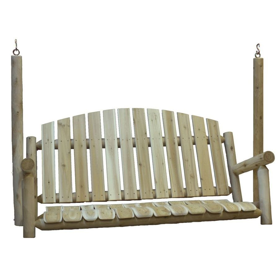 Lakeland Mills 3-Seat Wood Rustic Porch Swing