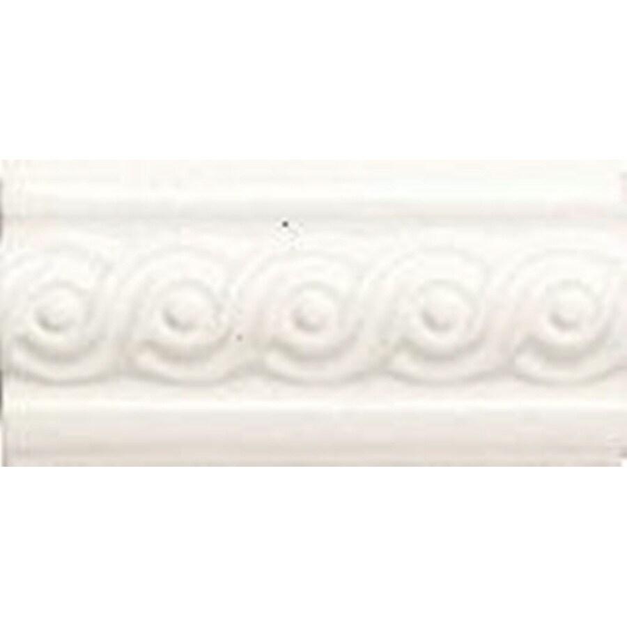American Olean Designer Elegance Ice White Ceramic Listello Tile (Common: 3-in x 6-in; Actual: 3-in x 6-in)