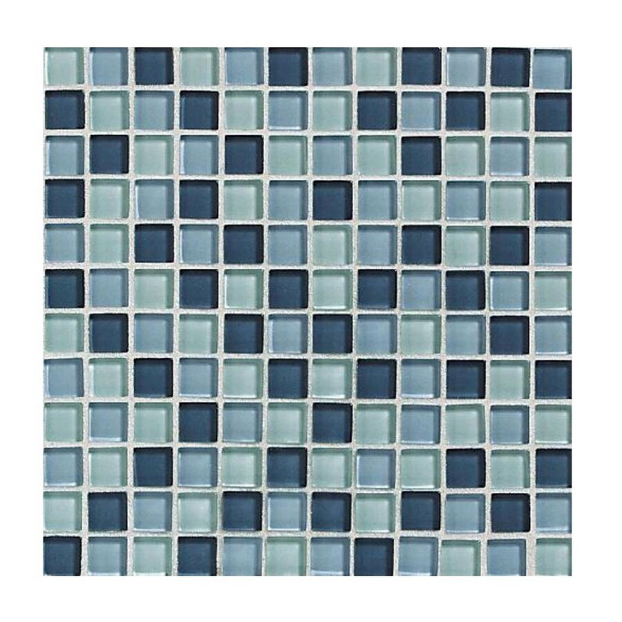 American Olean Delfino Glass Ocean Blues Glass Mosaic Square Wall Tile (Common: 12-in x 12-in; Actual: 11.75-in x 11.75-in)