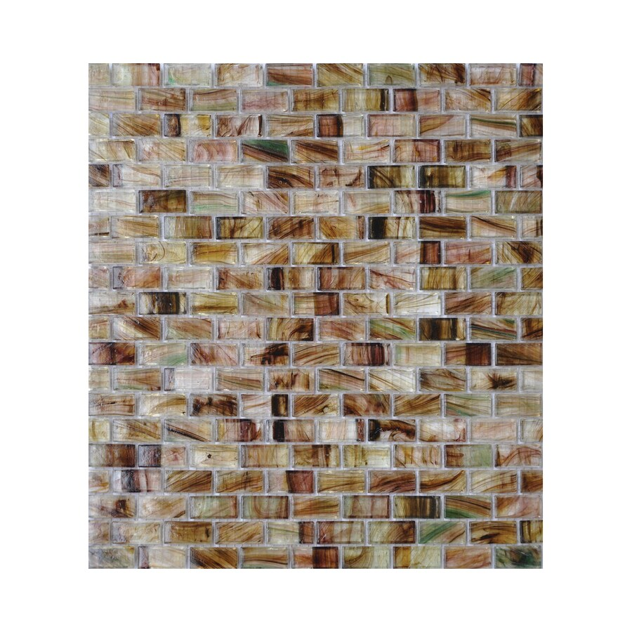 American Olean Visionaire Evening Shadow Brick Mosaic Glass Wall Tile (Common: 13-in x 13-in; Actual: 12.87-in x 12.87-in)