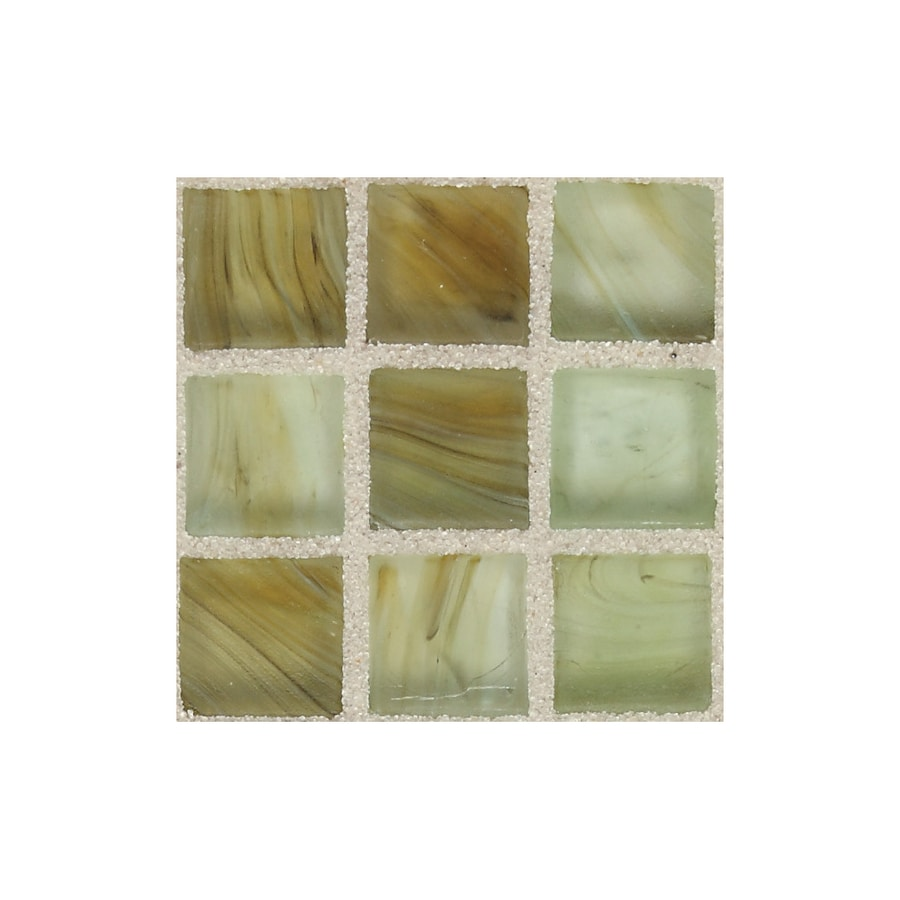 American Olean Visionaire Meadow Breeze Uniform Squares Mosaic Glass Wall Tile (Common: 13-in x 13-in; Actual: 12.87-in x 12.87-in)