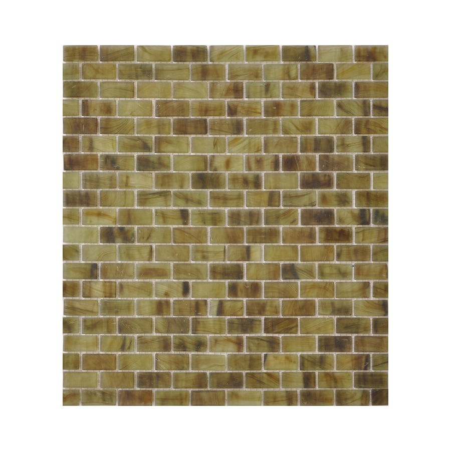 American Olean Visionaire Summer Storm Brick Mosaic Glass Wall Tile (Common: 13-in x 13-in; Actual: 12.87-in x 12.87-in)