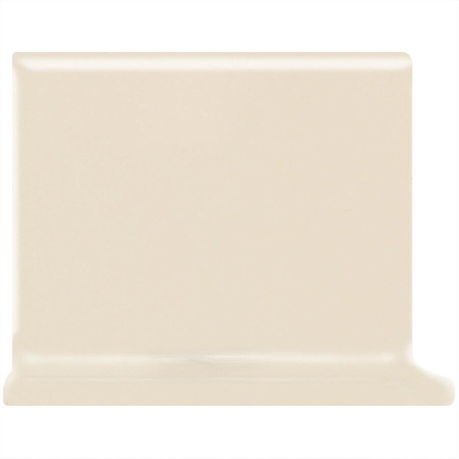 American Olean Bright Gloss Almond Ceramic Cove Base Tile (Common: 4-in x 4-in; Actual: 4.25-in x 4.25-in)