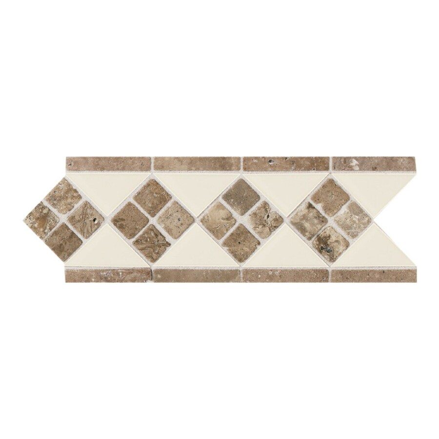American Olean Designer Elegance Almond Ceramic Listello Tile (Common: 4-in x 12-in; Actual: 4-in x 12-in)