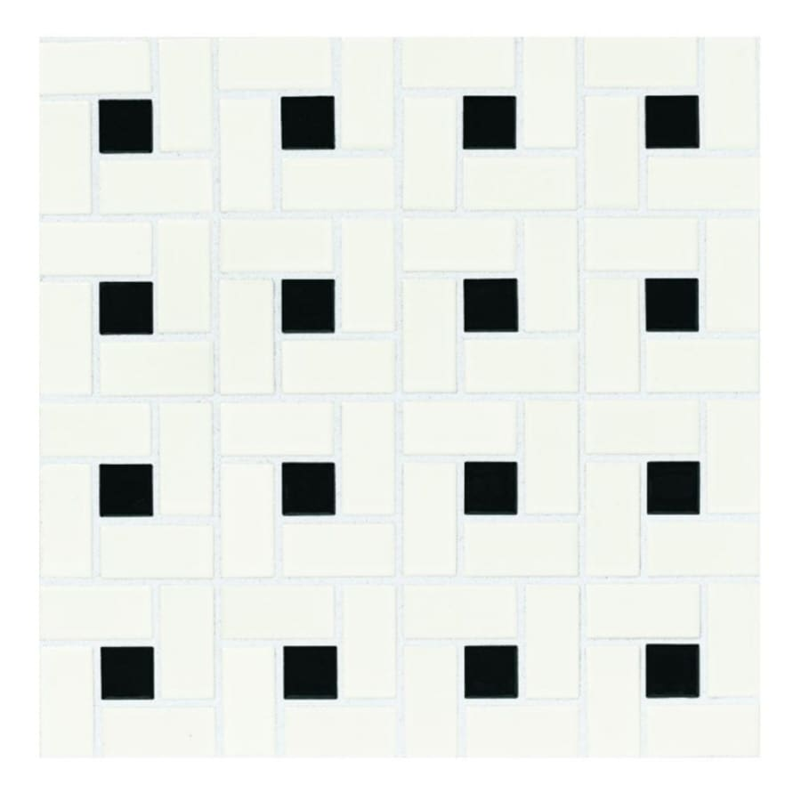 American Olean 10-Pack Chloe Satin White with Gloss Black Dot Ceramic Mosaic Floor Tile (Common: 12-in x 12-in; Actual: 12-in x 12-in)