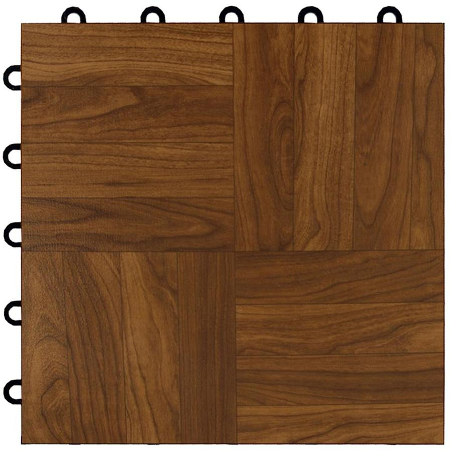 Greatmats Maxtile 26-Pack 12-in x 12-in Dark Oak Parquet Loose Lay Wood Vinyl Plastic Tile Multipurpose Flooring