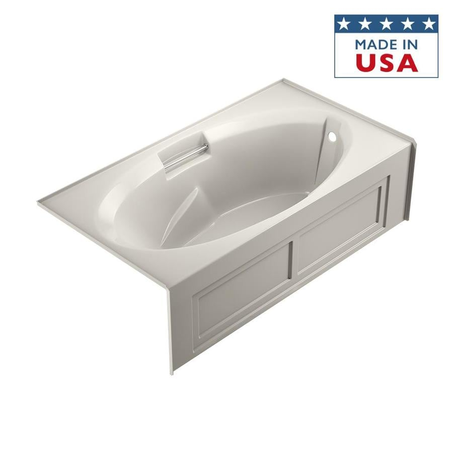 Jacuzzi Nova Acrylic Oval In Rectangle Skirted Bathtub with Right-Hand Drain (Common: 36-in x 72-in; Actual: 19-in x 36-in x 72-in)