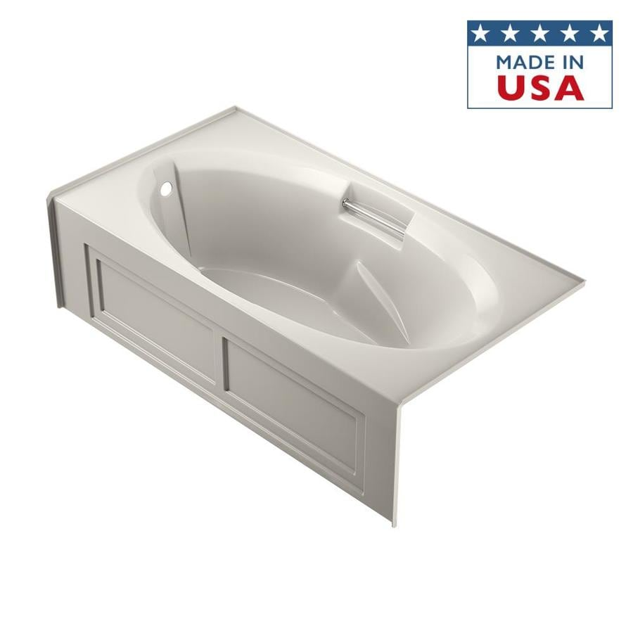 Jacuzzi Nova Acrylic Oval In Rectangle Skirted Bathtub with Left-Hand Drain (Common: 36-in x 72-in; Actual: 19-in x 36-in x 72-in)
