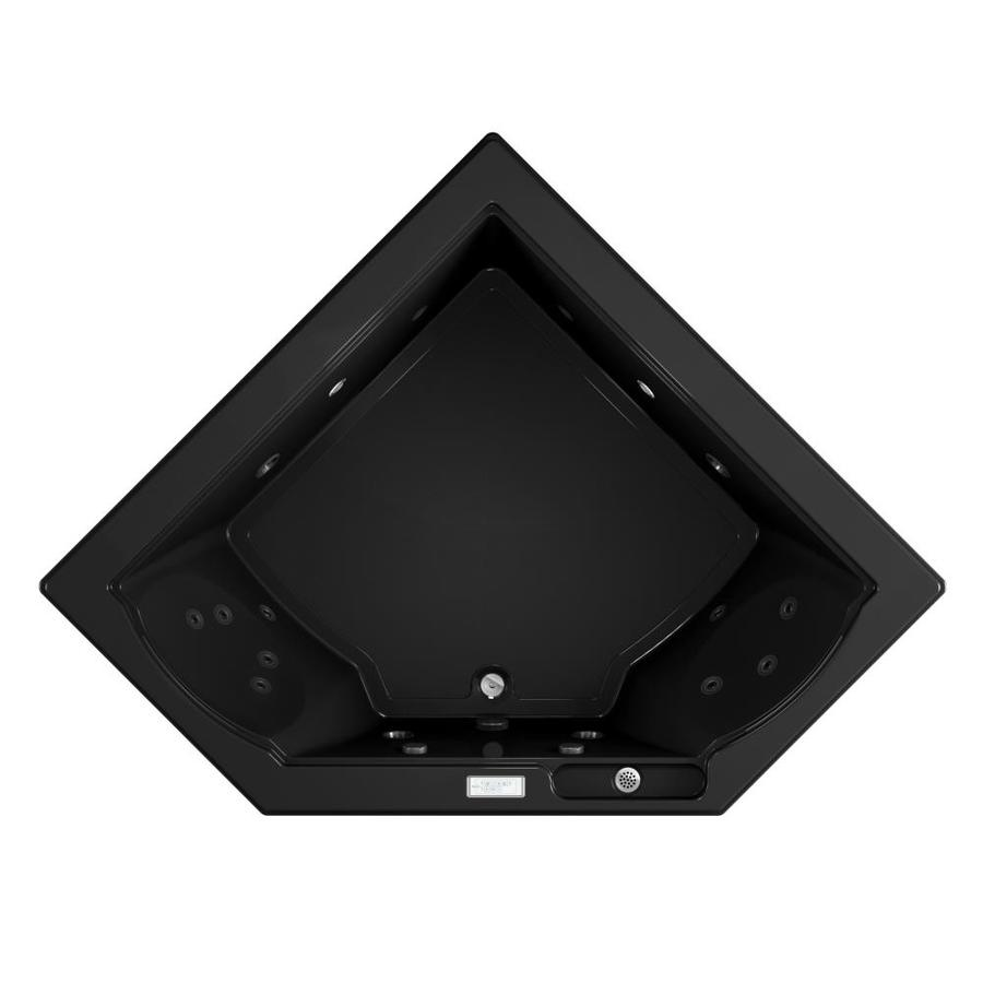 Jacuzzi Fuzion 2-Person Black Acrylic Corner Whirlpool Tub (Common: 66-in x 66-in; Actual: 24-in x 65.75-in x 65.75-in)