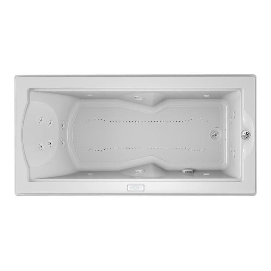 Jacuzzi 70.688-in L x 35.4-in W x 24-in H Acrylic Rectangular Combo Whirlpool Tub and Air Bath