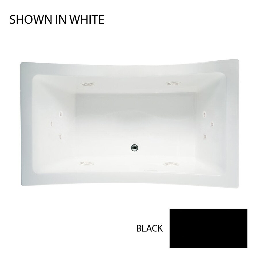 Owens Corning Allusion 2-Person Black Acrylic Rectangular Whirlpool Tub (Common: 36-in x 72-in; Actual: 26-in x 36-in x 72-in)