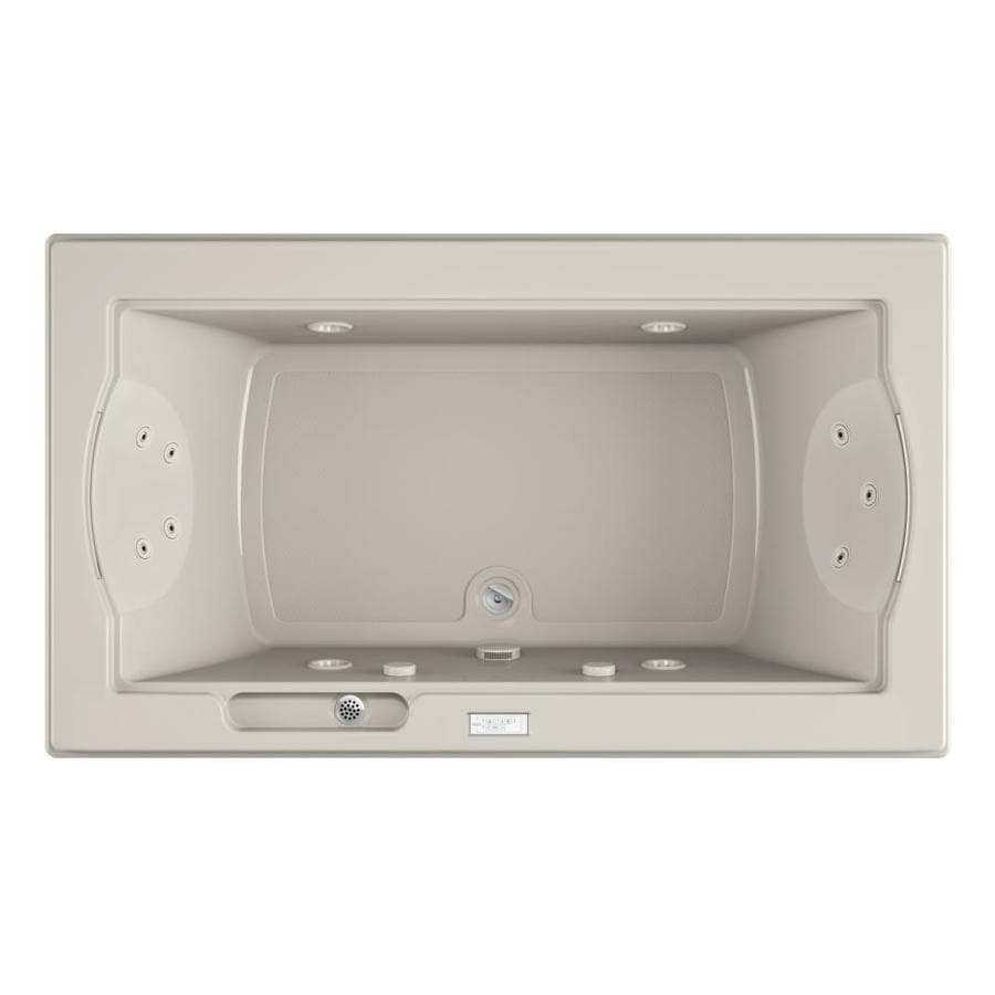 Jacuzzi Fuzion 2-Person Oyster Acrylic Rectangular Whirlpool Tub (Common: 42-in x 72-in; Actual: 24-in x 42-in x 72-in)