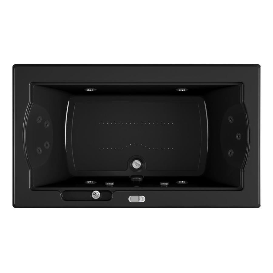 Jacuzzi Fuzion 72-in L x 42-in W x 24-in H 2-Person Black Acrylic Rectangular Drop-in Whirlpool Tub and Air Bath