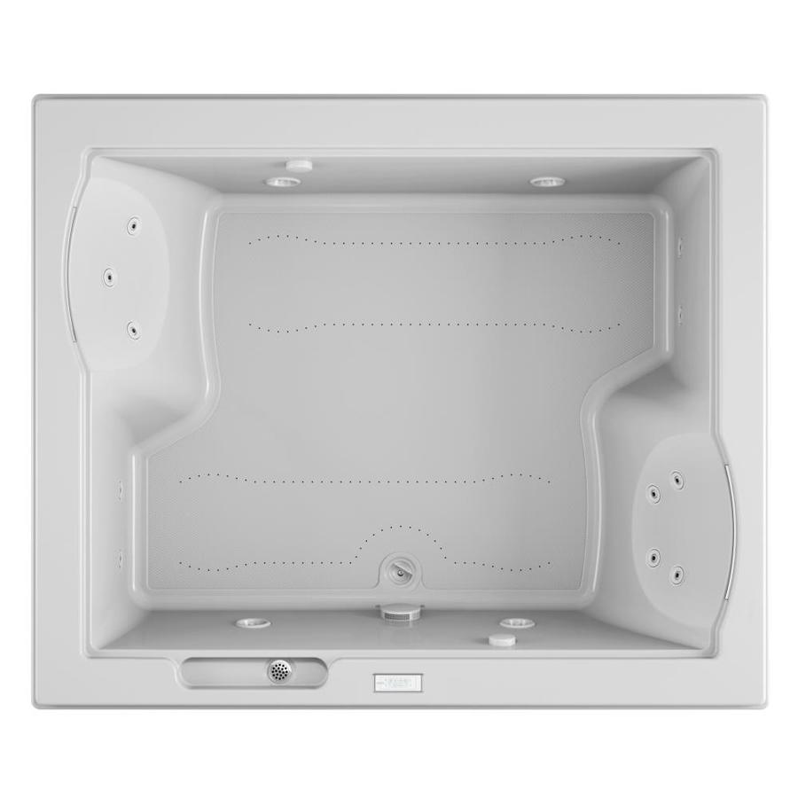 Jacuzzi Fuzion 71.75-in L x 59.75-in W x 24-in H 2-Person White Acrylic Rectangular Drop-in Whirlpool Tub and Air Bath