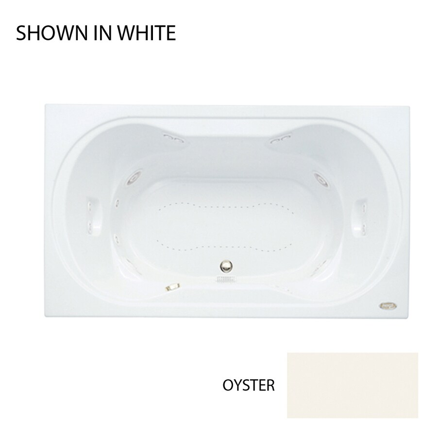 Jacuzzi Real 72-in L x 42-in W x 26-in H 2-Person Oyster Acrylic Hourglass In Rectangle Drop-in Whirlpool Tub and Air Bath