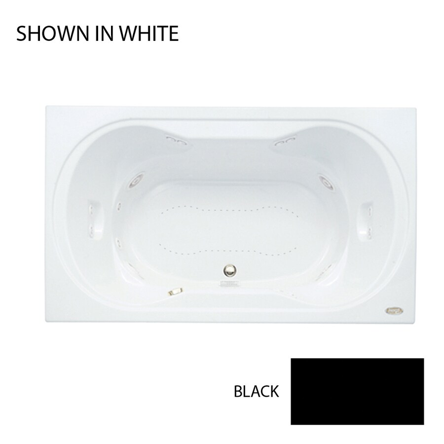 Jacuzzi Real 72-in L x 42-in W x 26-in H 2-Person Black Acrylic Hourglass In Rectangle Drop-in Whirlpool Tub and Air Bath
