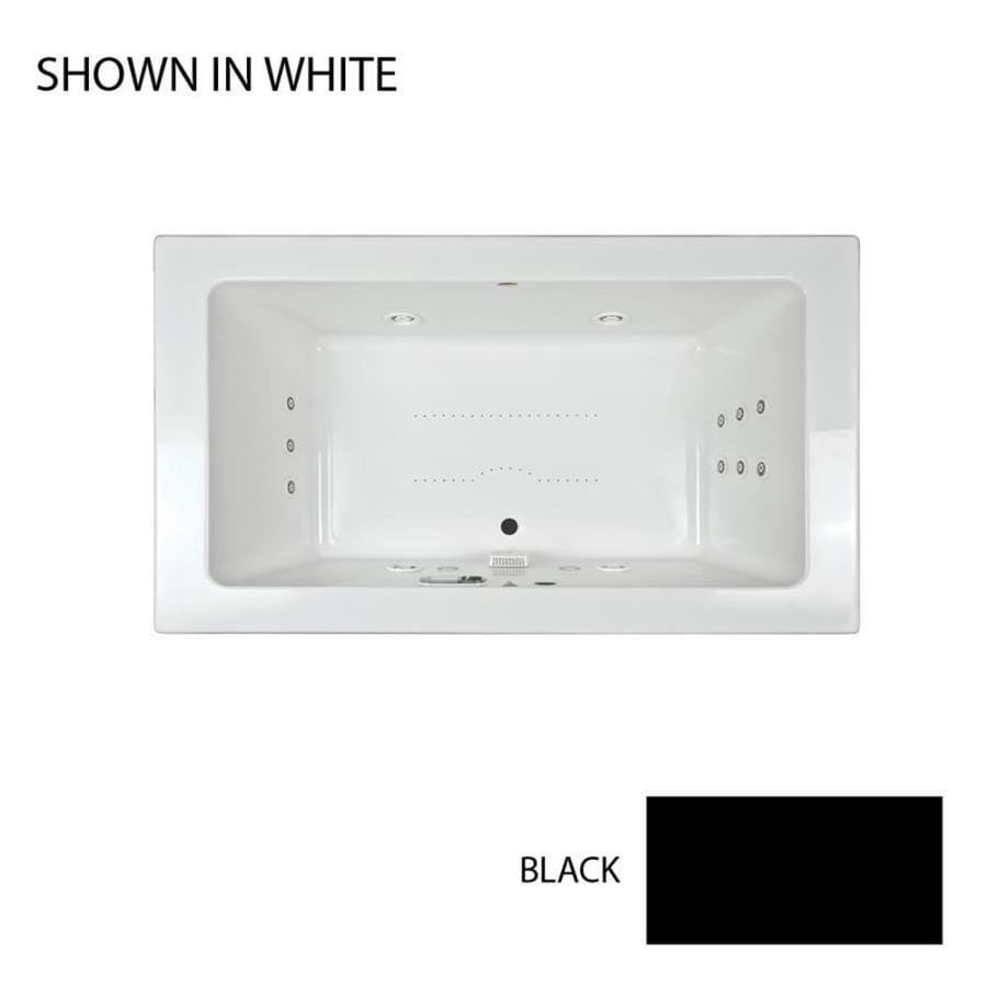 Jacuzzi Sia 72-in L x 42-in W x 24-in H 2-Person Black Acrylic Rectangular Drop-in Whirlpool Tub and Air Bath