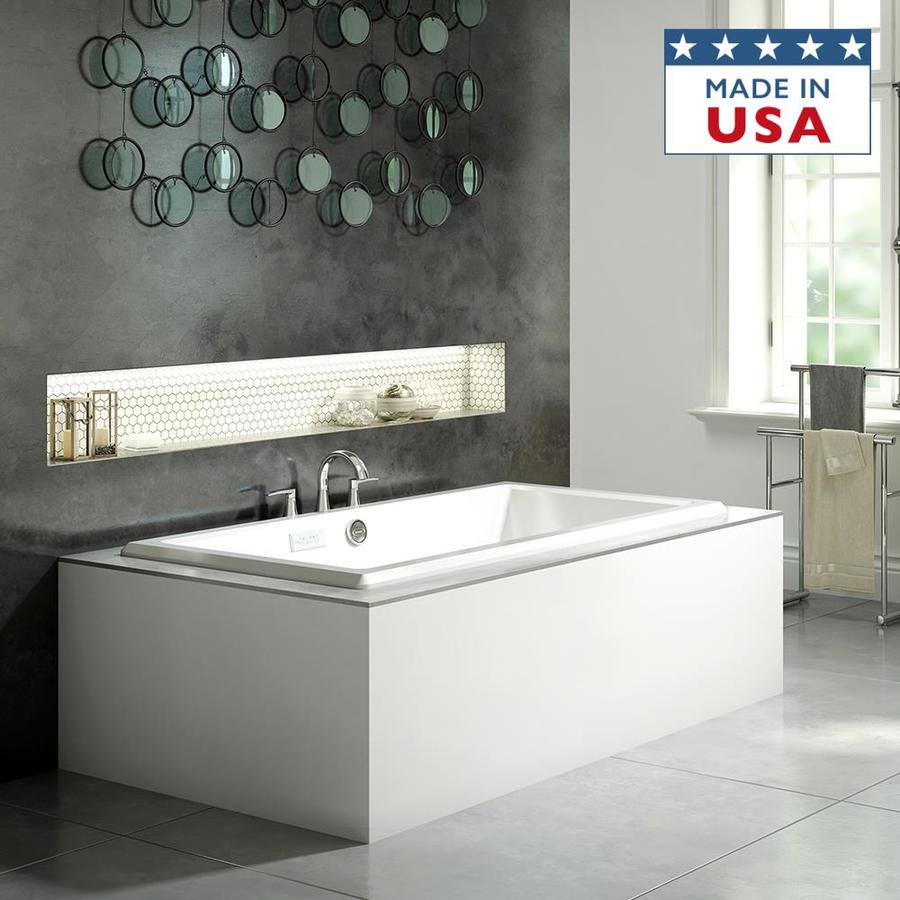 Jacuzzi Acero Acrylic Rectangular Drop-in Bathtub with Center Drain (Common: 42-in x 72-in; Actual: 25-in x 42-in x 72-in)