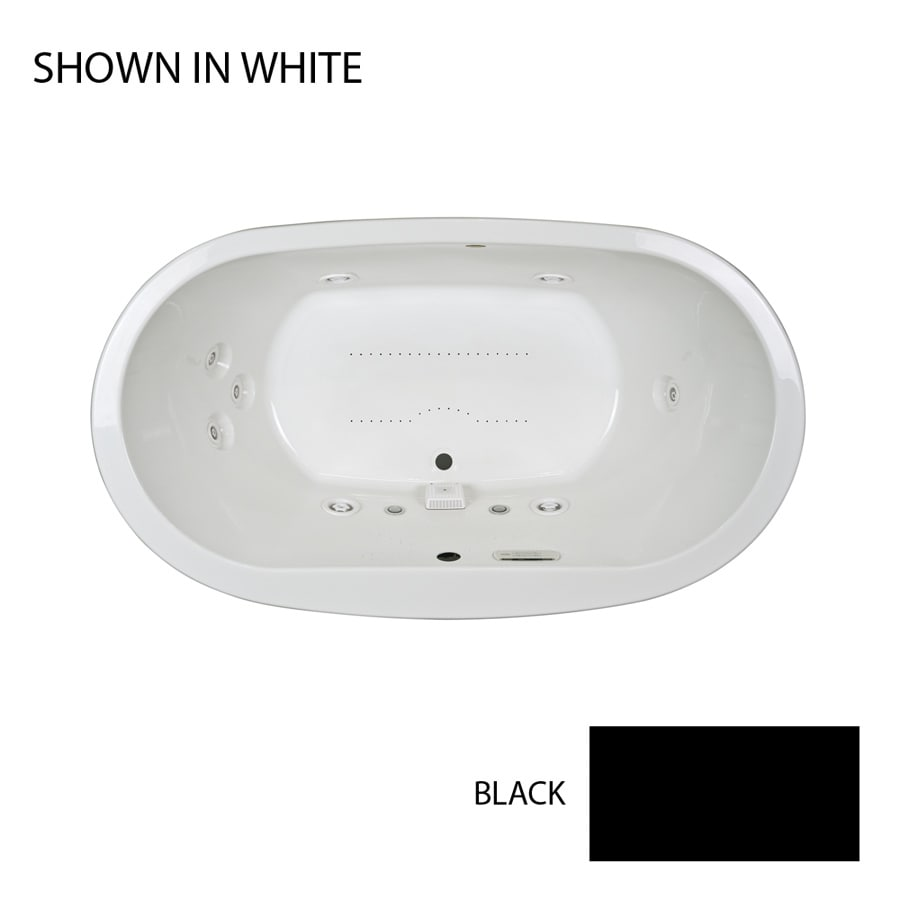 Jacuzzi Mio 72-in L x 42-in W x 25-in H 2-Person Black Acrylic Oval Drop-in Whirlpool Tub and Air Bath