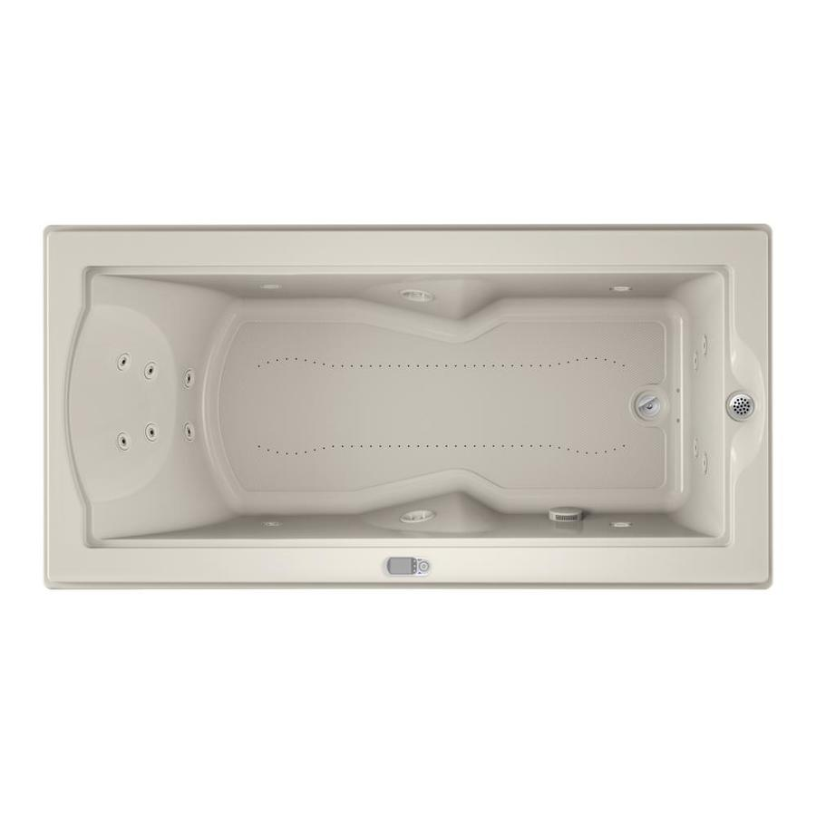 Jacuzzi Fuzion 70.7-in L x 35.4-in W x 24-in H Oyster Acrylic Rectangular Drop-in Whirlpool Tub and Air Bath