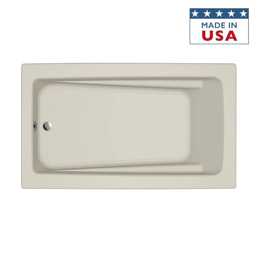 Jacuzzi Primo Almond Acrylic Rectangular Drop-in Bathtub with Reversible Drain (Common: 42-in x 72-in; Actual: 21-in x 42-in x 72-in)