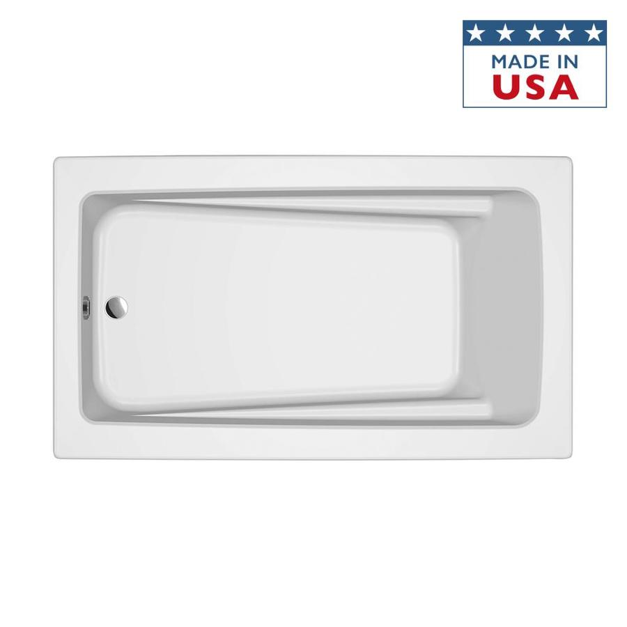 Jacuzzi Primo White Acrylic Rectangular Drop-in Bathtub with Reversible Drain (Common: 42-in x 72-in; Actual: 21-in x 42-in x 72-in)