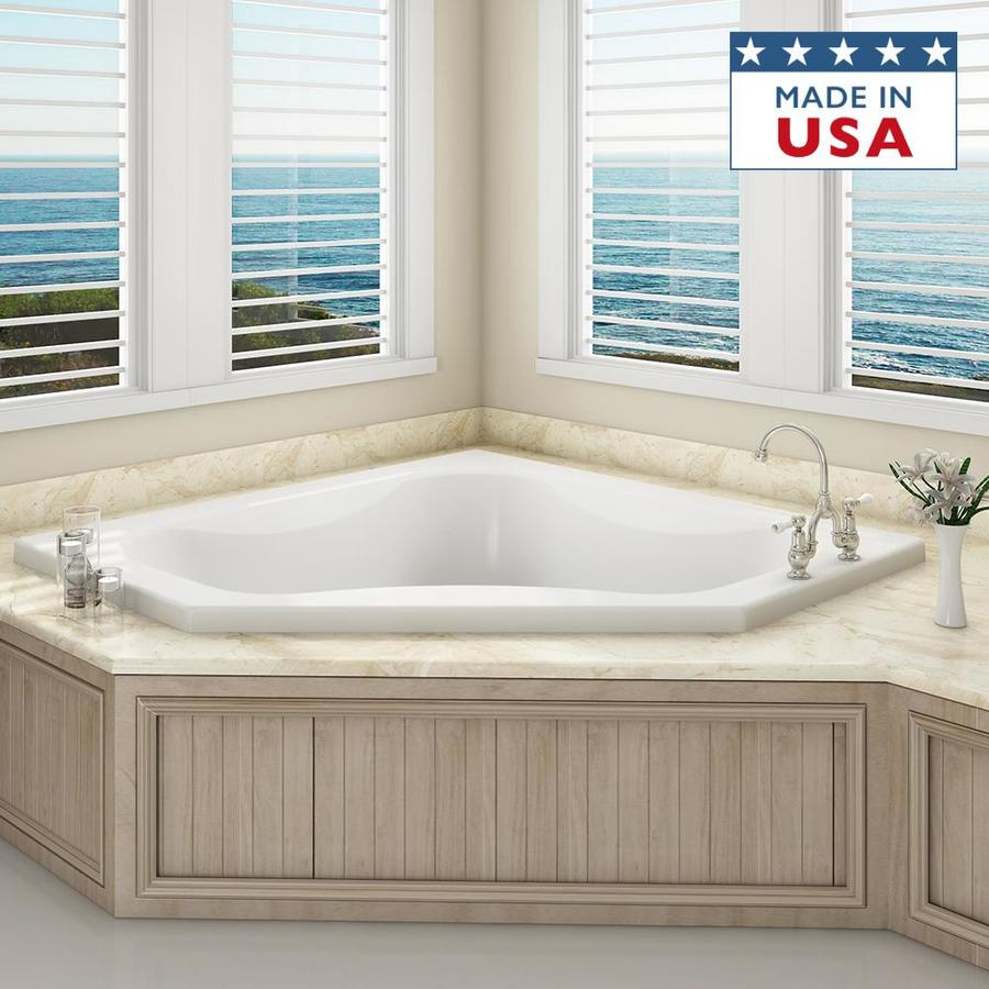 Jacuzzi Primo White Acrylic Corner Drop-in Bathtub with Front Center Drain (Common: 60-in x 60-in; Actual: 21-in x 60-in x 60-in)