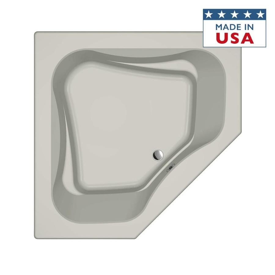 Jacuzzi Primo Oyster Acrylic Corner Drop-in Bathtub with Front Center Drain (Common: 60-in x 60-in; Actual: 21-in x 60-in x 60-in)