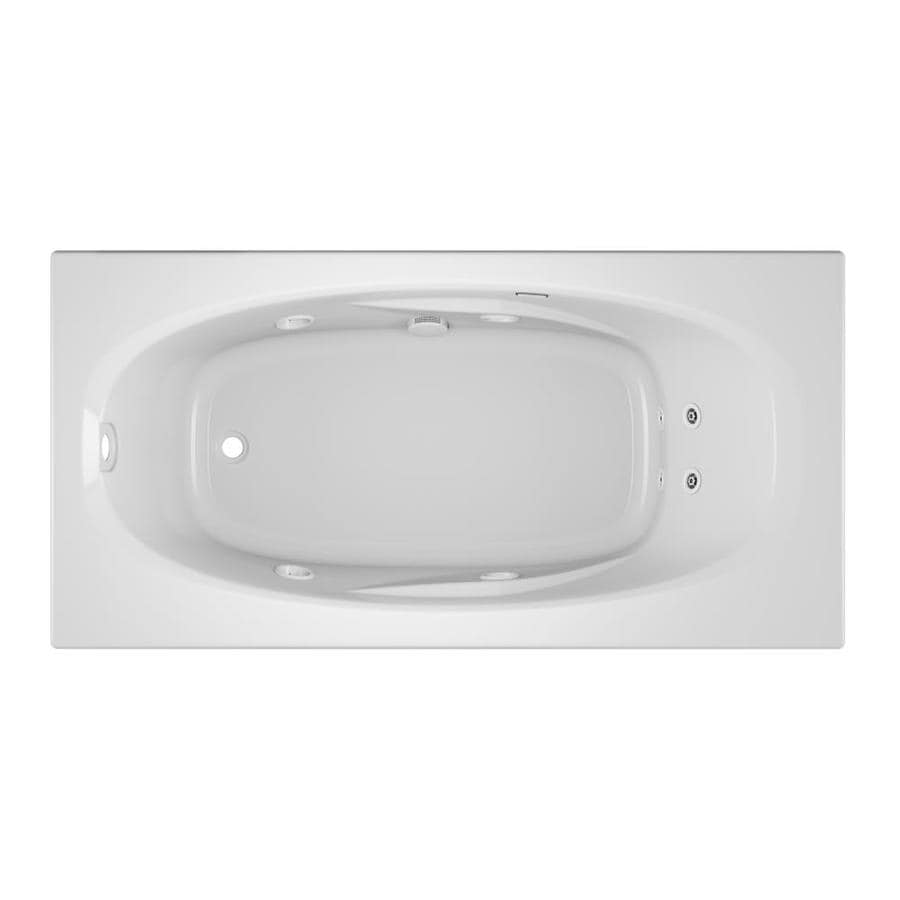 Jacuzzi Amiga White Acrylic Oval In Rectangle Whirlpool Tub (Common: 36-in x 72-in; Actual: 20.75-in x 36-in x 72-in)
