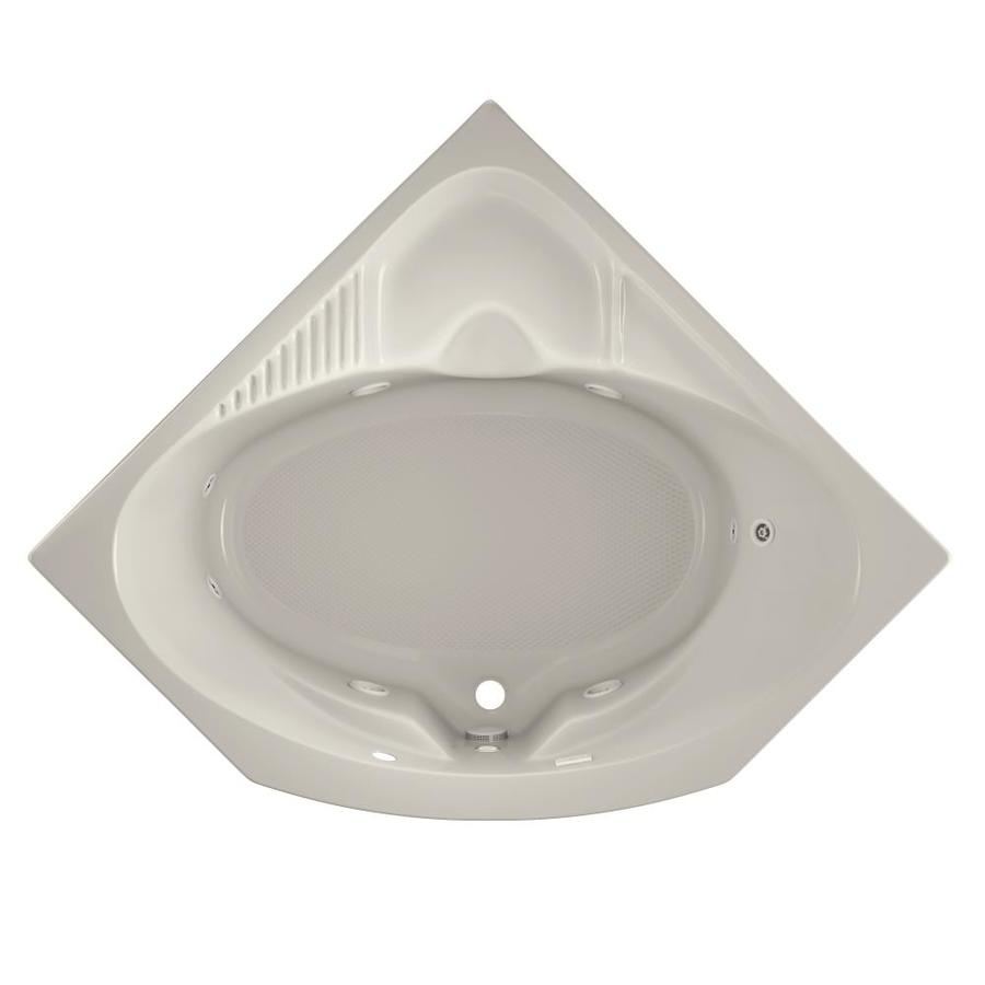Jacuzzi Capella 2-Person Oyster Acrylic Corner Whirlpool Tub (Common: 55-in x 55-in; Actual: 20.25-in x 55-in x 55-in)