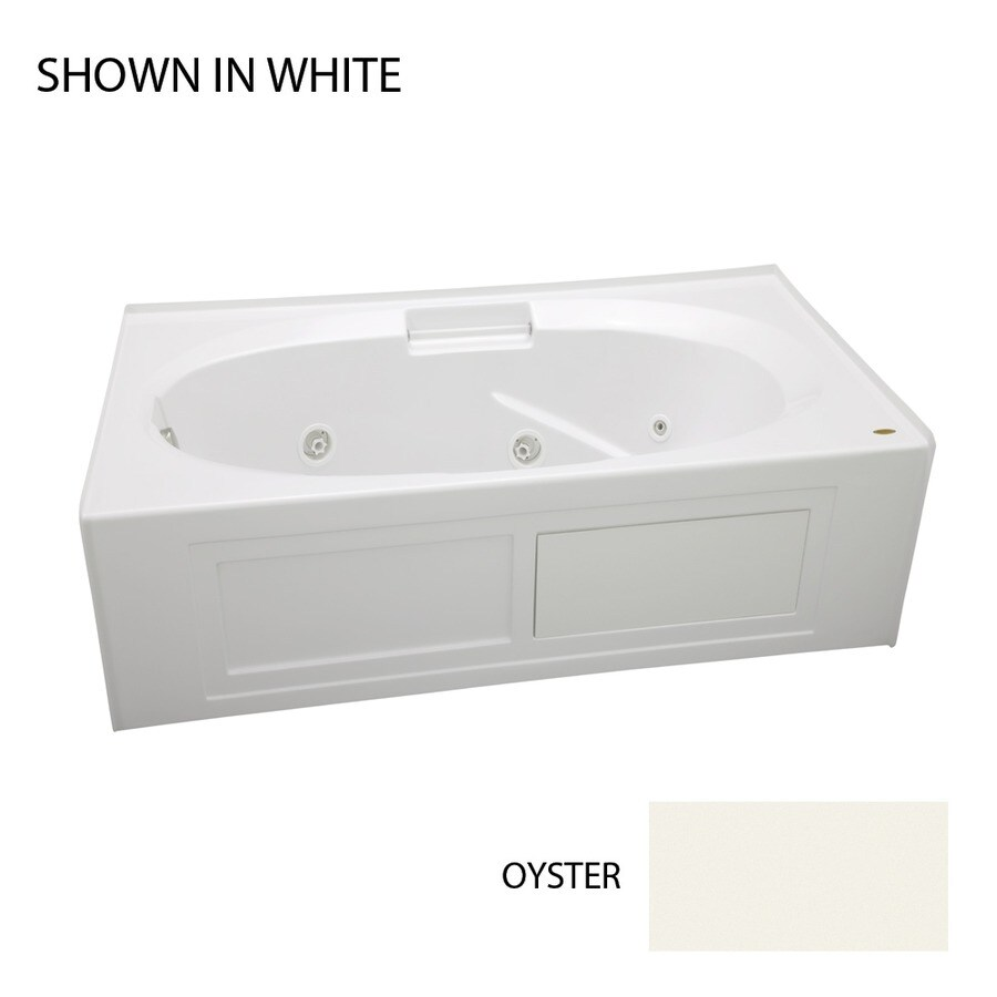 Jacuzzi Nova Oyster Acrylic Oval In Rectangle Whirlpool Tub (Common: 36-in x 60-in; Actual: 19.25-in x 36-in x 60-in)