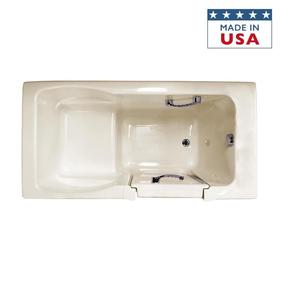 Jacuzzi Finestra Almond Acrylic Rectangular Walk-in Bathtub with Right-Hand Drain (Common: 30-in x 60-in; Actual: 38.5-in x 30-in x 60-in)