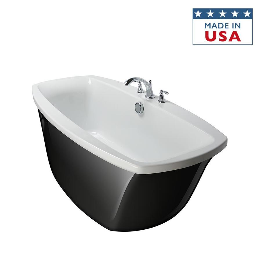 Shop Jacuzzi Primo Black White Acrylic Oval Freestanding Bathtub With Center