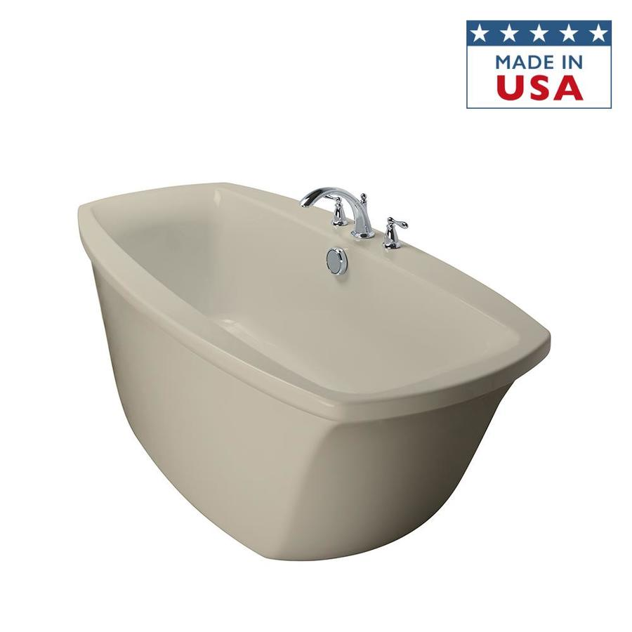 Shop Jacuzzi Primo Almond Acrylic Oval Freestanding Bathtub With Center Drain