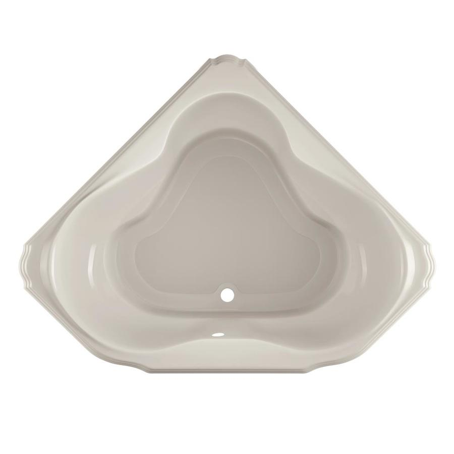 Jacuzzi Marineo Oyster Acrylic Corner Drop-in Bathtub with Center Drain (Common: 60-in x 60-in; Actual: 25-in x 60-in x 60-in)