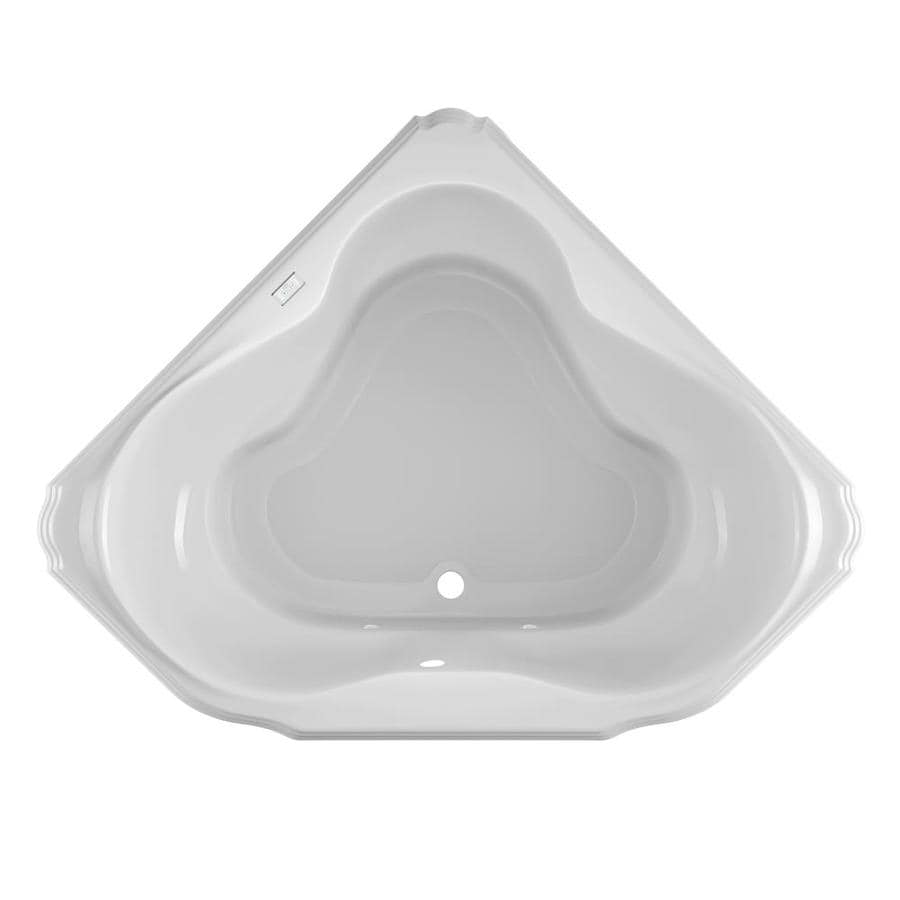 Jacuzzi Marineo White Acrylic Corner Drop-in Bathtub with Center Drain (Common: 60-in x 60-in; Actual: 25-in x 60-in x 60-in)